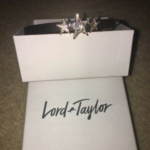 Lord & Taylor Black Leather Star Choker Necklace